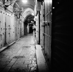 Market at night, Jerusalem (swedish silver) Tags: jerusalem market night closing time hasselblad trix dark alley imacon film 500cm 80mm zeiss 28