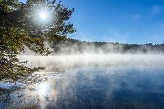 Summer evaporates (Marco vdH) Tags: reflection blue sunrise water vapor morning mist lake autumn outdoor masachusetts upton heat warm evaporate bright summer