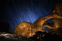 Double Arch Star Trails (tmo-photo) Tags: park longexposure stars utah arches national moab startrail lightpainted tmophoto