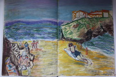 "Tenby On Beach pastel Sketch books A2 • <a style=""font-size:0.8em;"" href=""http://www.flickr.com/photos/91814165@N02/8397247217/"" target=""_blank"">View on Flickr</a>"