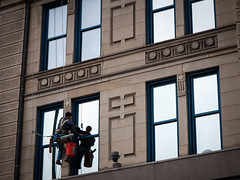 Cincinnatian Window Washer (Referenceace - Working!) Tags: city winter ohio urban building architecture buildings lunch downtown cincinnati january cities 1445mm 2013 mirrorless panasoniclumixg1