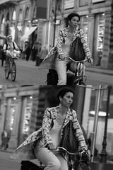 [La Mia Citt][Pedala] (Urca) Tags: portrait blackandwhite bw italia milano bn ciclista biancoenero 2012 bicicletta pedalare dittico 47395 ritrattostradale nikondigitalefilippetta