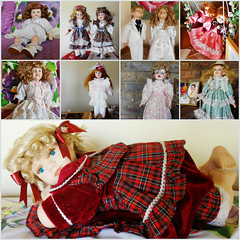 Dolls (Cathlon) Tags: old costumes collage dolls nine collection porcelain scavchal16