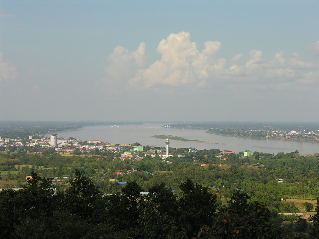 Distant views over Mukdahan, Northeast Thailand