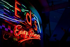 Neon Light (beckyspeller) Tags: light colour night contrast america writing dark check neon bright diner colourful multicolour florescent