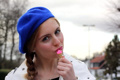 Blue and pink 1 (MartaCanga) Tags: pictures street city pink blue brussels portrait people urban woman brown white black girl beauty look hat pose hair photography necklace belt outfit model day colours heart belgium photos fashionphotography posing hairdo style skirt flats marta lipstick beret hairstyle modelling braid blackbelt accesories whitecoat electricblue pinkskirt pinklipstick bluehat blackbag streetstyle blacktights brownhaired blackflats blueberet sweetnecklace hearttights streetsyle daylook dayoutfit martacanga