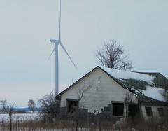 The old and the new. (jimward52) Tags: windturbinegenerator gratiotcountymi michiganwinterscene