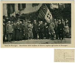 Saluti da Roncegno. Benedizione della bandiera di Genova, regalata agli scolari di Roncegno (Ecomuseo Valsugana | Croxarie) Tags: genova cartolina bandiera roncegno sittoni roncegnoterme croxarie giuseppesittoni