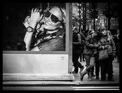 Lean On Me (Feldore) Tags: life street new york people art me poster couple head billboard shoulder mchugh mimic lean imitates feldore