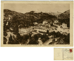 Roncegno Terme, parco Grand Hotel, 1928 (Ecomuseo Valsugana | Croxarie) Tags: parco 1928 cartolina terme roncegno parcodelleterme sittoni montibeller roncegnoterme croxarie giuseppesittoni