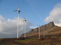 eigg wind turbines with sgurr in background 2