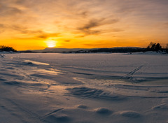 Sunset skitracks on the frozen fjord (spookst) Tags: sunset orange sun snow ice yellow oslo norway clouds frozen tracks fjord skitracks
