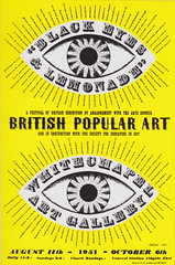 "Festival of Britain, 1951 - ""Black Eyes and Lemonade - British Popular Art"" poster by Barbara Jones, 1951 (mikeyashworth) Tags: poster typography graphicdesign typeface 1951 typographic whitechapelartgallery artscouncil festivalofbritain barbarajones aldgateeaststation thewhitechapelgallery august111951 britishpopularart mileashworthcollection festivalofbritainpublicity festivalofbritainposter october61951 thesocietyforeducationinart blackeyeslemonade"