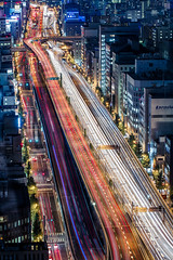 Vertical Hanshin Expressway (Sandro Bisaro) Tags: auto road urban japan skyline night japanese highway ramp neon cityscape trails overpass junction osaka expressway nihon hanshin cartrails canonefs1755mmf28isusm hanshinexpressway  elevatedhighways canon7d
