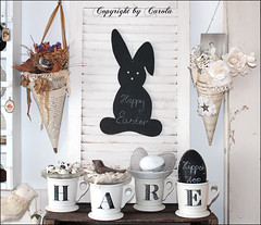 Spell HARE with mugs (Boxwoodcottage) Tags: white inspiration black easter 2013 boxwoodcotage