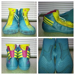 Adizero Sydney - size 9.5 (zbrit (8149529050)) Tags: new pink white yellow shoe nice shoes good teal wrestling awesome small great sydney mint gear fresh best nike used size equipment sissy worn asics wrestler adidas wrestle teals greco nikes rulon condition apperal inflict adizero kolat inflicts uploaded:by=flickrmobile flickriosapp:filter=nofilter