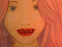 The ties that bind (PinkyDoodles) Tags: red woman girl face illustration pencil painting sketch drawing cartoon manga lips doodle whimsical pencilsketch pencilart pencildrawing womansface girlsface womanseyes thetiesthatbind