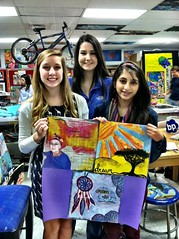 Chloe, Farial, & Sarah, students at North Gwinnett High School in Suwanee, Georgia (The Dream Rocket Project) Tags: christmas family school trees people mountain newyork green art home water nova animal glitter kids trash stars religious washington community war paint peace kentucky space flag unitedstatesofamerica group cancer conservation diversity astronaut felt save aliens nasa clean explore health environment leader twintowers express olympic agriculture racism elementary planting abuse humans equality global facebook discover intolerance saturnvrocket presidentobama internationalfibercollaborative thedreamrocket