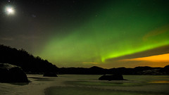 Aurora... (Minkn) Tags: wood winter light sky moon white snow tree green ice water yellow norway stars lights star norge rocks heaven aurora arne icy northern per landsacape borealis rogaland the nordlys sr minkn nordlyser