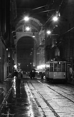 Rainy day (_MissMoneyPenny_) Tags: street city people white black milan rain evening downtown strada milano centre centro tram pioggia bianco nero sera citt