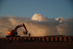 Shoring Up the Sea Defences at Bexhill-on-Sea (antonychammond) Tags: excavator seadefences bexhillonsea coast beach mechanicaldigger clouds eastsussex england uk mackleycouk