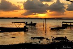 Fim de Tarde (Carlos Amorim (Camorim10)) Tags: tarde sunset prdosol dourado pescador barco silhueta luz mar praia taipu de dentro bahia brasil natureza