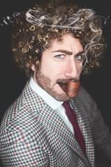 Naman (p&pfotografia) Tags: flickrtoday soe nikon vedereoltre pepfotografia man pipe smoking portrait curlyhair model elegance rome digitalretouch interno7