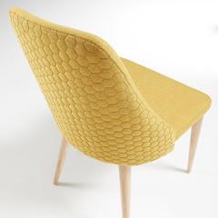 Sedia Clara in tessuto trapuntato gambe legno naturale (design italiano) Tags: sedia sedie tessuto trapuntato disegno geometrico nordico design living seduta