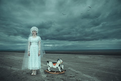Flashback (magdalena.russocka) Tags: woman conceptual storytelling story sky sea seaside clouds emotive emotional emotions expressive evocative emotion atmospheric narrative illustration illustrator rocking horse childhood wedding bloody