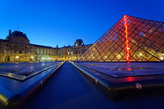 The Louvre Pyramid perspective (marko.erman) Tags: paris france pyramid louvre palaisdulouvre night perspective architecture light pov wideangle sony travel popular blue red line broken pei architect museum musedulouvre glass transparent courtyyard cournapolon