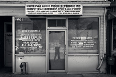 ALL CAPS (JeffStewartPhotos) Tags: photowalk walkingwithmaryc walkingwithdavidw queenstreet queenstreeteast leslieville toronto ontario canada store storefront sign signage universalaudiovideoelectronic capitals allcaps allcapitals blackandwhite blackwhite bw toned
