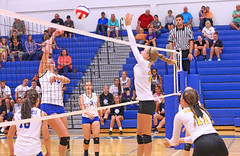 IMG_5173 (SJH Foto) Tags: girls volleyball high school lancaster mennonite pa pennsylvania team tween teen teenager varsity net battle spike block action shot jump midair