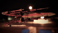 Rebel raid (grzegorz.s) Tags: model toy fighter night street city xwing starwars
