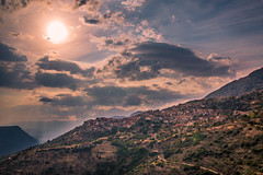 Sunshine over the village (Vagelis Pikoulas) Tags: village voiotia greece 2016 august summer canon tokina 2470mm view landscape house houses 6d sky clouds cloud cloudy sun sunset sunshine sunburst arachova mountain