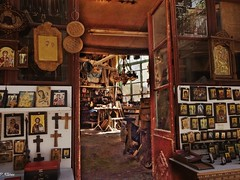 old workshop wood carving and icon painting...Agiasos Lesbos Greece (panoskaralis) Tags: icon orthodox santamaria church workshop art wood agiasos lesbos lesvosisland lesvos mytilene island greece greekart hellas hellenic aegean aegeansea outdoor door shop indoor sony sonydschx60