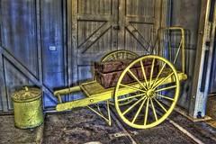 Old luggage cart, Quarantine Station, Portsea, Victoria. (jatakaphoto) Tags: cart yellow bin luggage steam chamber quarantine station portsea pointnepean museum tourism parksvictoria morningtonpeninsula portphillip hdr historic antique