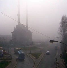 Turkey (Istanbul) A mosque in the morning mist (ustung) Tags: turkey istanbul mist morning mosque street outdoor nikon