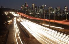 I-5 at NE 45th Street, Seattle (SounderBruce) Tags: i5 interstate5 interstate freeway seattle skyline night light lightrail