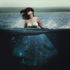 Sea storm (misa.stahlova) Tags: conceptual concept surreal imaginative imagination 365 365project water underwater outdoor sea storm blue naturallight manipulation dress floating selfportrait square waves people creative passion challenge