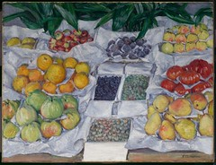 Gustave Caillebotte  Fruit Displayed on a Stand, 1882. Painting: oil on canvas, 76.5 x 100.6 cm. Museum of Fine Arts, Boston. Caillebotte delighted in unusual vantage points and compositions. This close-up view of fruit stacked on a market stand creates (ArtAppreciated) Tags: fineart painting blogs tumblr artblogs artappreciated artoftheday artofdarkness artofdarknessco artofdarknessblog gustave caillebotte impressionism french artists art history modern 19th century