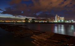 River Nights (Clayton Perry Photoworks) Tags: vancouver bc canada summer explorebc explorecanada skyline bridge skytrain translink train canadaline richmond night lights reflection
