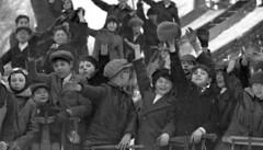 1924 Kids Gathered on Boston Common Sledding, detail (Historicimage) Tags: oldboston oldbostonphoto bostonchildren bostoncommon winterinboston sledding vintagechildren