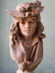 Young Girl with Flowers on her Hat (Seldom Scene Photography) Tags: france muserodin paris travel terracotta bust sculpture