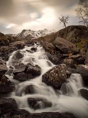 Llyn Ogwen Falls (Howie Mudge LRPS BPE1*) Tags: uk longexposure sky cloud mountain water rock wales river landscape photography waterfall stream moody ngc cymru olympus snowdon cascade omd gwynedd tryfan llynogwen 1250mm em5 bw110 ©howiemudge2013