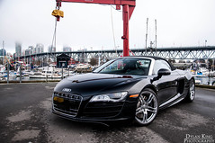 Audi R8 Spyder (Dylan King Photography) Tags: canada black fog vancouver lights spider nikon soft bc top side tail rear wheels fast columbia headlights front spyder chrome british brake audi rims polished v10 r8 convertable d90 18105mm