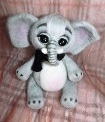 Needle felted cute gray baby elephant with a hat and a scarf sculpture - OOAK (WoolArtToys) Tags: sculpture baby elephant cute art hat animals felted scarf one miniatures doll soft dolls gray kind needle collectibles