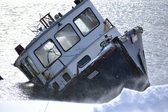 Storm Surge Victim 1 (SDewittPhoto) Tags: winter fish snow cold water lost boat fishing sink maritime sunk cause