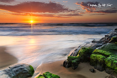 Newcastle (Kiall Frost) Tags: ocean blue red sky orange sun seascape green beach water clouds sunrise newcastle print landscape star photo moss sand rocks image south australia nsw kiallfrost