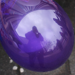 43 | Balloon (Auntie P) Tags: selfportrait reflection mirror purple balloon ofme auntiep 365days msh0313 february2013 365days2013 2013week7 msh031311