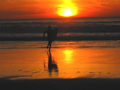 sunset surfing (bigsassysmurf) Tags: sanfrancisco california sunset surfer surfboard oceanbeach